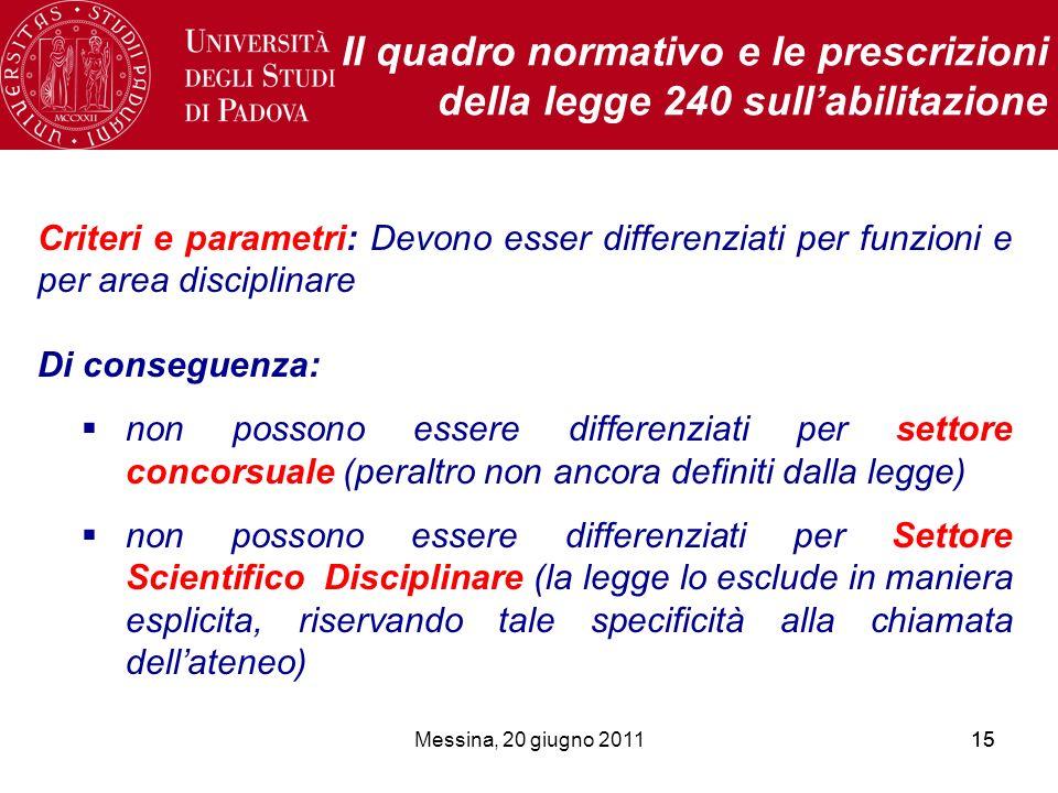 Messina, 20 giugno 201115 Il quadro normativo e le prescrizioni della legge 240 sullabilitazione Criteri e parametri: Devono esser differenziati per f