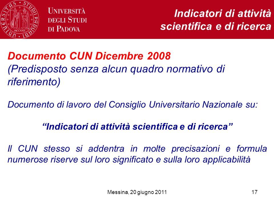 Messina, 20 giugno 201117 Indicatori di attività scientifica e di ricerca Documento CUN Dicembre 2008 (Predisposto senza alcun quadro normativo di rif