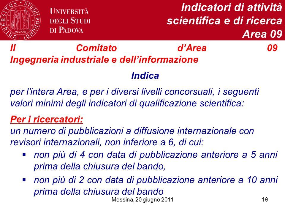 Messina, 20 giugno 201119 Indicatori di attività scientifica e di ricerca Area 09 Il Comitato dArea 09 Ingegneria industriale e dellinformazione Indic