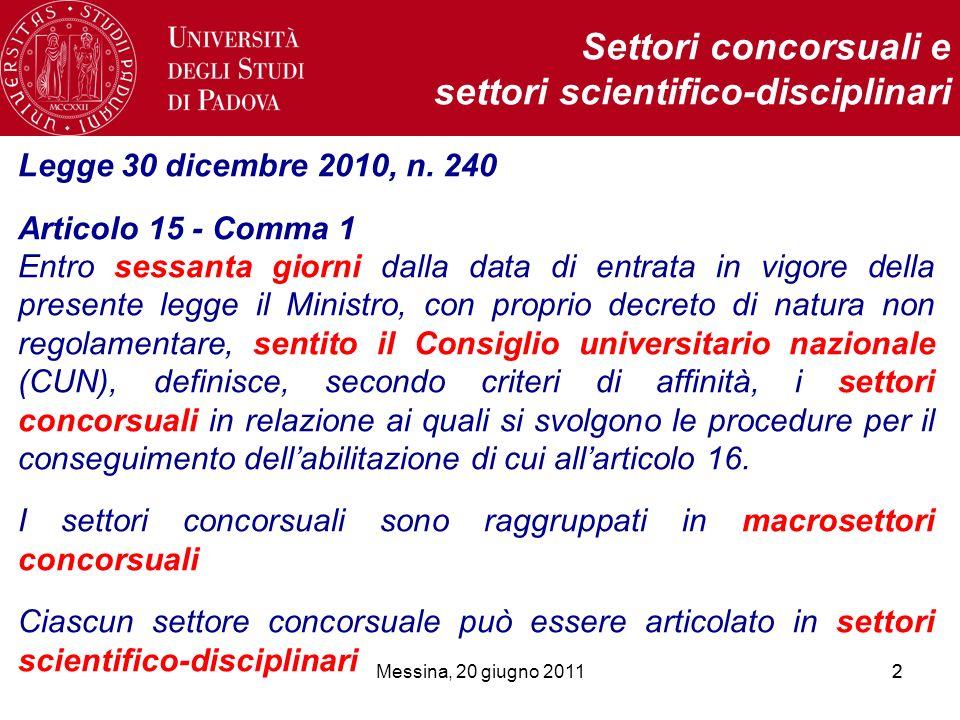 Messina, 20 giugno 201122 Settori concorsuali e settori scientifico-disciplinari Legge 30 dicembre 2010, n. 240 Articolo 15 - Comma 1 Entro sessanta g