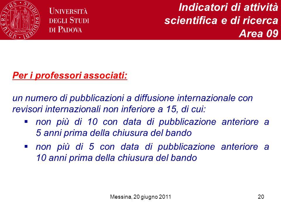 Messina, 20 giugno 201120 Indicatori di attività scientifica e di ricerca Area 09 Per i professori associati: un numero di pubblicazioni a diffusione