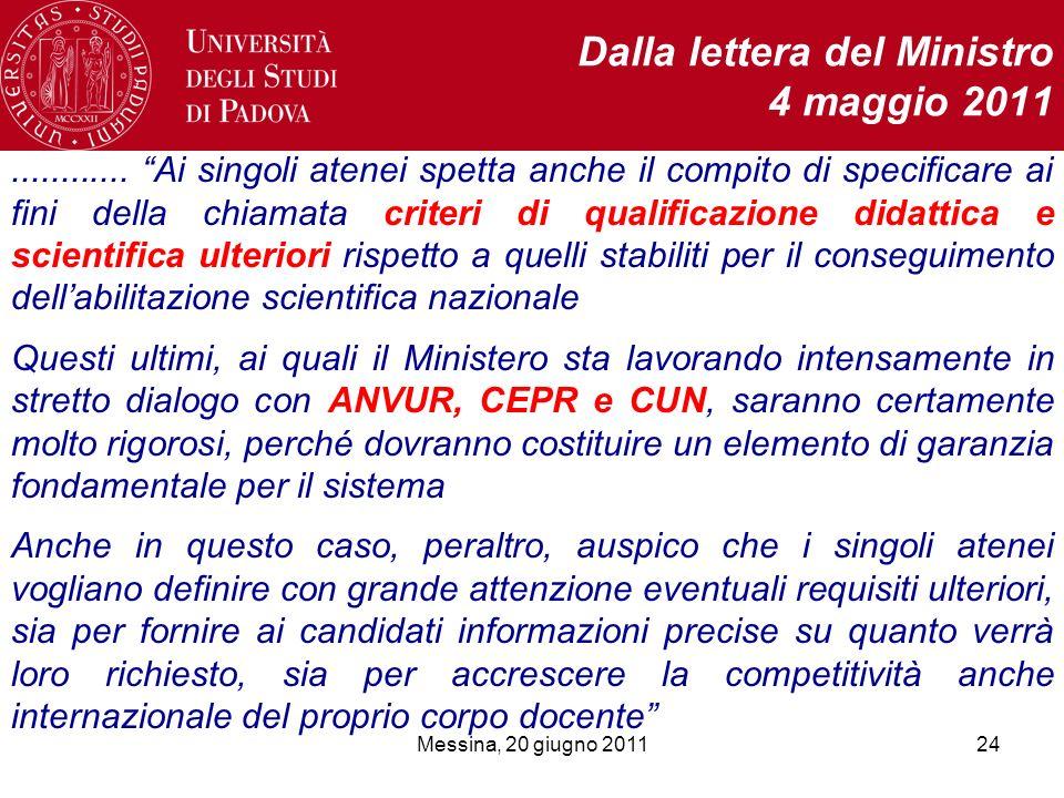 Messina, 20 giugno 201124 Dalla lettera del Ministro 4 maggio 2011............ Ai singoli atenei spetta anche il compito di specificare ai fini della