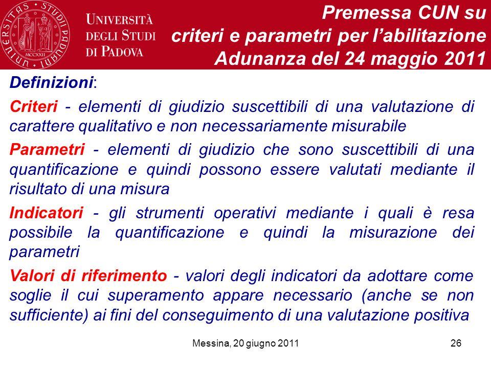 Messina, 20 giugno 201126 Premessa CUN su criteri e parametri per labilitazione Adunanza del 24 maggio 2011 Definizioni: Criteri - elementi di giudizi