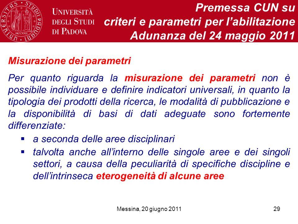 Messina, 20 giugno 201129 Premessa CUN su criteri e parametri per labilitazione Adunanza del 24 maggio 2011 Misurazione dei parametri Per quanto rigua