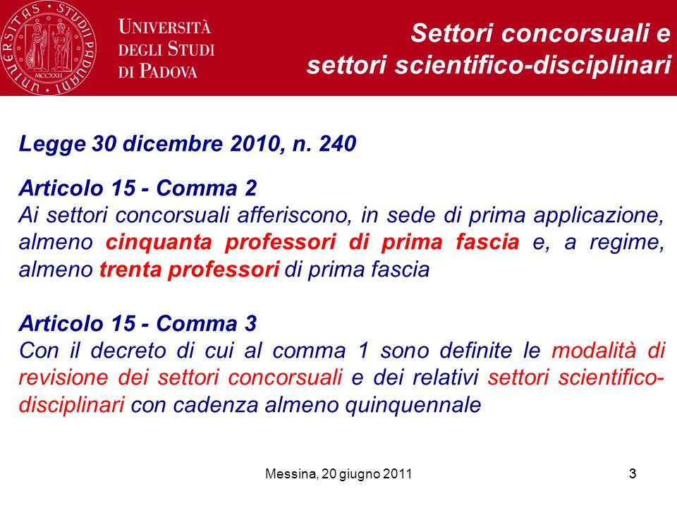 Messina, 20 giugno 201133 Settori concorsuali e settori scientifico-disciplinari Legge 30 dicembre 2010, n. 240 Articolo 15 - Comma 2 Ai settori conco