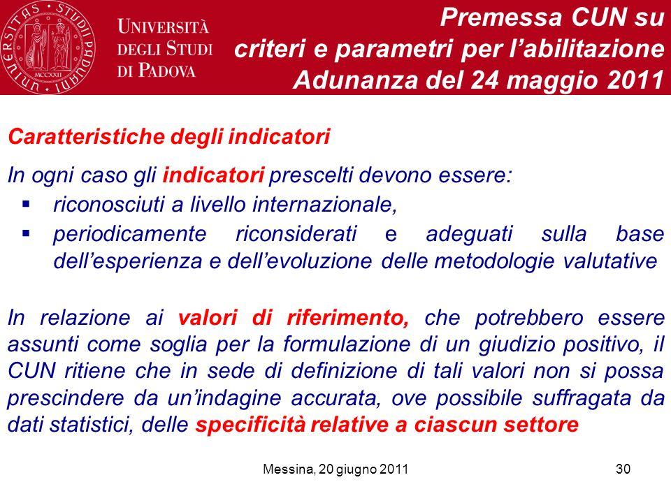 Messina, 20 giugno 201130 Premessa CUN su criteri e parametri per labilitazione Adunanza del 24 maggio 2011 Caratteristiche degli indicatori In ogni c
