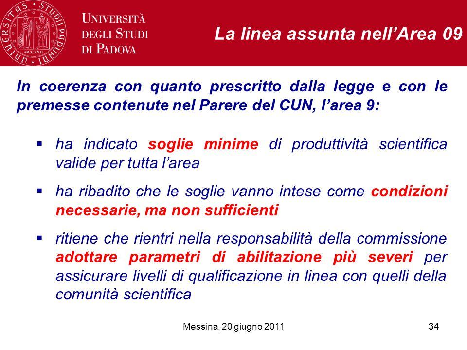 Messina, 20 giugno 201134 La linea assunta nellArea 09 In coerenza con quanto prescritto dalla legge e con le premesse contenute nel Parere del CUN, l