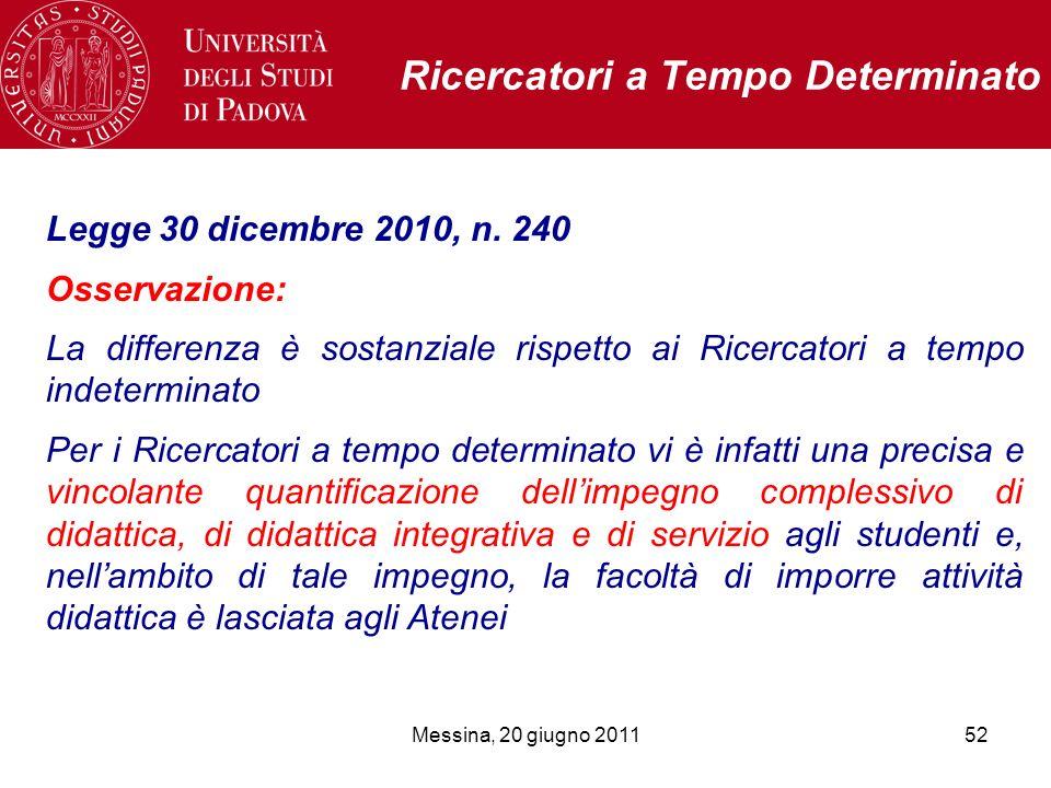 Messina, 20 giugno 201152 Ricercatori a Tempo Determinato Legge 30 dicembre 2010, n. 240 Osservazione: La differenza è sostanziale rispetto ai Ricerca