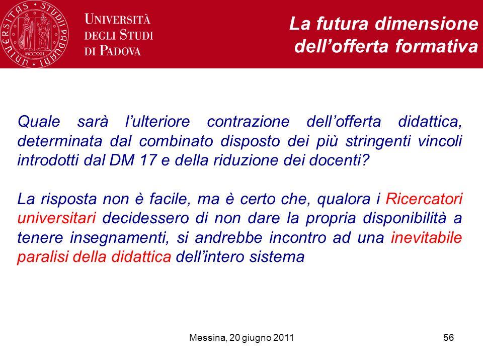 Messina, 20 giugno 201156 La futura dimensione dellofferta formativa Quale sarà lulteriore contrazione dellofferta didattica, determinata dal combinato disposto dei più stringenti vincoli introdotti dal DM 17 e della riduzione dei docenti.