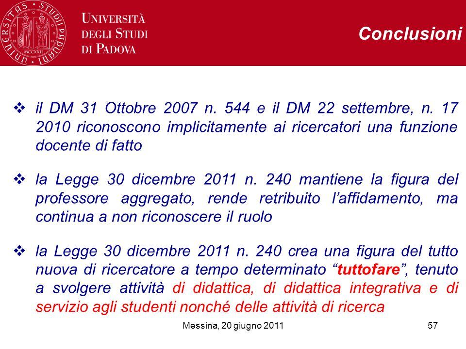 Messina, 20 giugno 201157 Conclusioni il DM 31 Ottobre 2007 n. 544 e il DM 22 settembre, n. 17 2010 riconoscono implicitamente ai ricercatori una funz