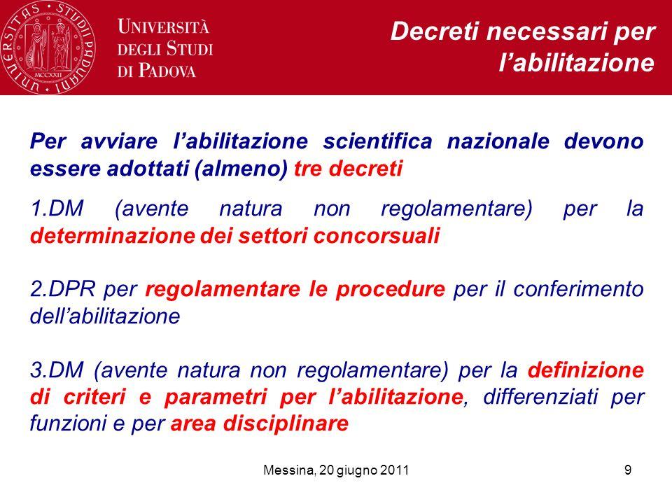 9 Per avviare labilitazione scientifica nazionale devono essere adottati (almeno) tre decreti 1.DM (avente natura non regolamentare) per la determinaz