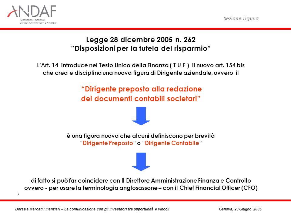 Associazione Nazionale Direttori Amministrativi e Finanziari Sezione Liguria Borsa e Mercati Finanziari – La comunicazione con gli investitori tra opportunità e vincoliGenova, 23 Giugno 2006 Legge 28 dicembre 2005 n.
