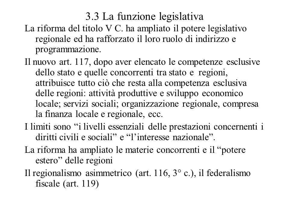 3.3 La funzione legislativa La riforma del titolo V C. ha ampliato il potere legislativo regionale ed ha rafforzato il loro ruolo di indirizzo e progr