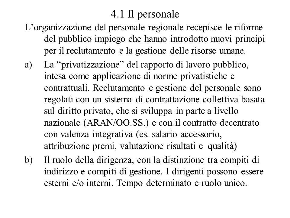 4.1 Il personale Lorganizzazione del personale regionale recepisce le riforme del pubblico impiego che hanno introdotto nuovi principi per il reclutam