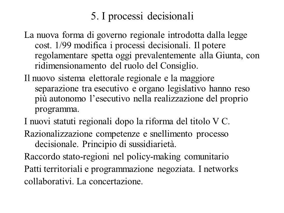 5. I processi decisionali La nuova forma di governo regionale introdotta dalla legge cost. 1/99 modifica i processi decisionali. Il potere regolamenta