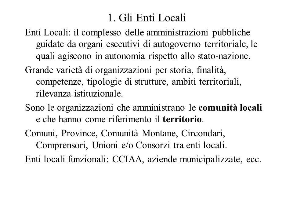 1. Gli Enti Locali Enti Locali: il complesso delle amministrazioni pubbliche guidate da organi esecutivi di autogoverno territoriale, le quali agiscon