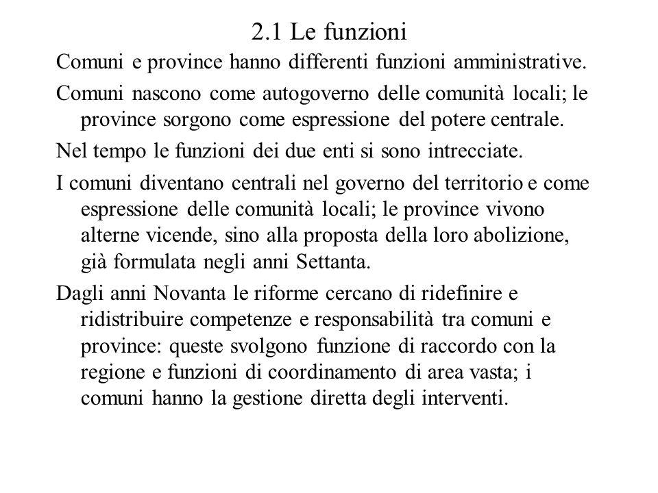 2.1 Le funzioni Comuni e province hanno differenti funzioni amministrative. Comuni nascono come autogoverno delle comunità locali; le province sorgono