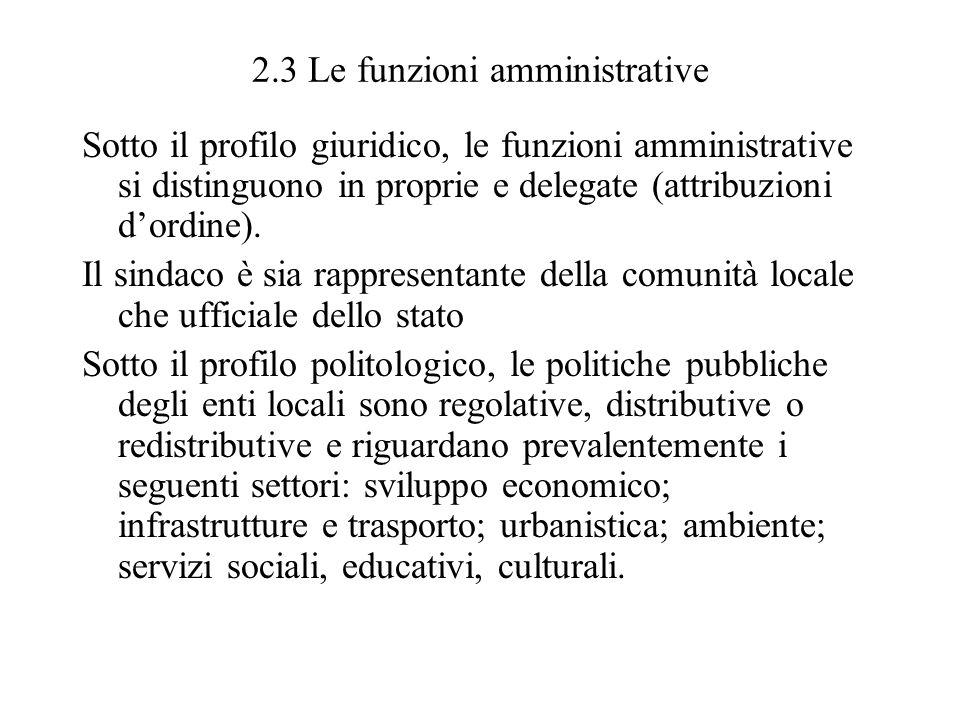 2.3 Le funzioni amministrative Sotto il profilo giuridico, le funzioni amministrative si distinguono in proprie e delegate (attribuzioni dordine). Il