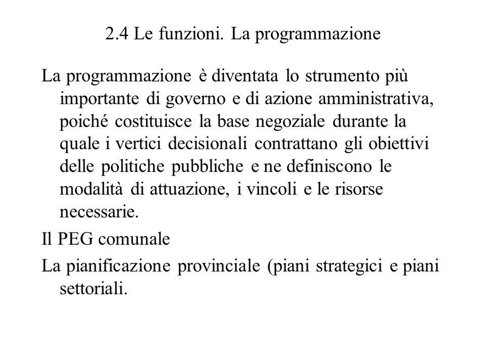 2.4 Le funzioni. La programmazione La programmazione è diventata lo strumento più importante di governo e di azione amministrativa, poiché costituisce