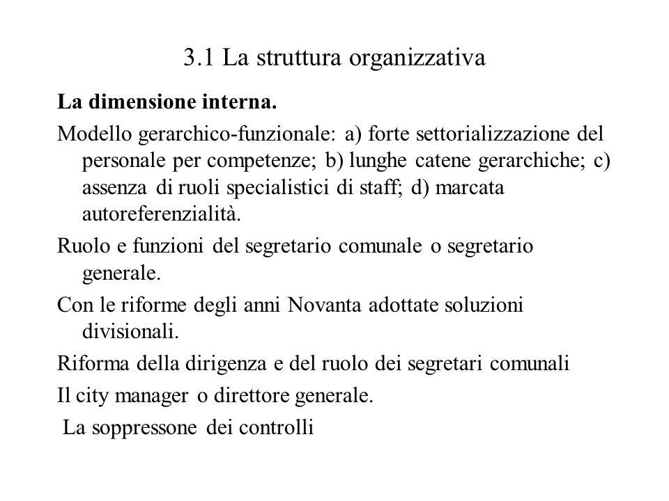 3.1 La struttura organizzativa La dimensione interna. Modello gerarchico-funzionale: a) forte settorializzazione del personale per competenze; b) lung
