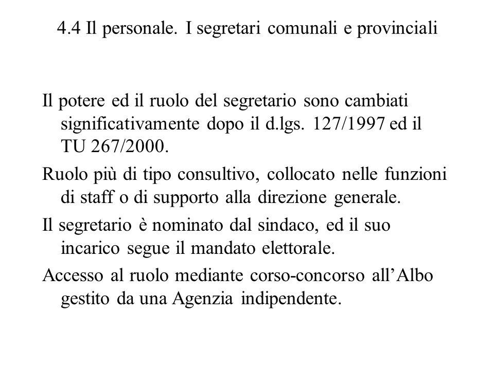 4.4 Il personale. I segretari comunali e provinciali Il potere ed il ruolo del segretario sono cambiati significativamente dopo il d.lgs. 127/1997 ed