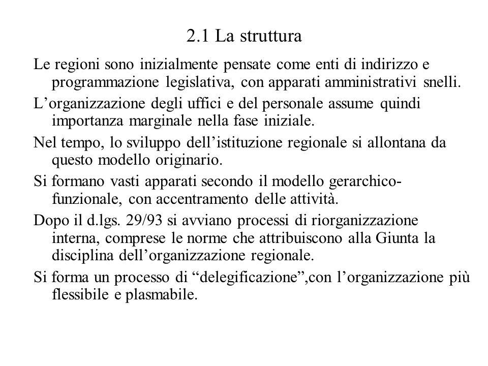 2.1 La struttura Le regioni sono inizialmente pensate come enti di indirizzo e programmazione legislativa, con apparati amministrativi snelli. Lorgani