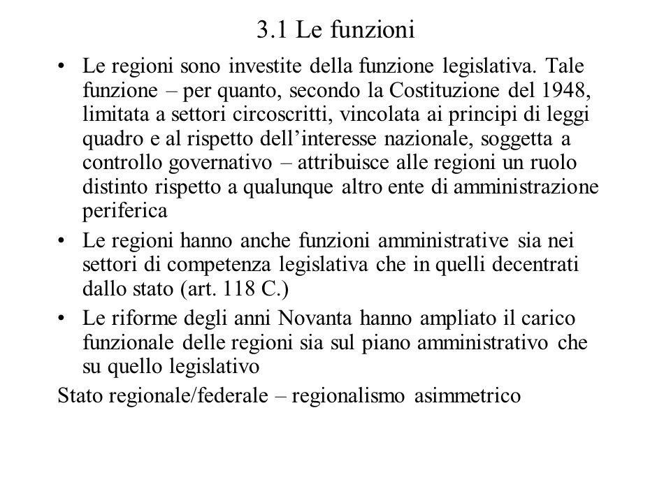 3.1 Le funzioni Le regioni sono investite della funzione legislativa. Tale funzione – per quanto, secondo la Costituzione del 1948, limitata a settori