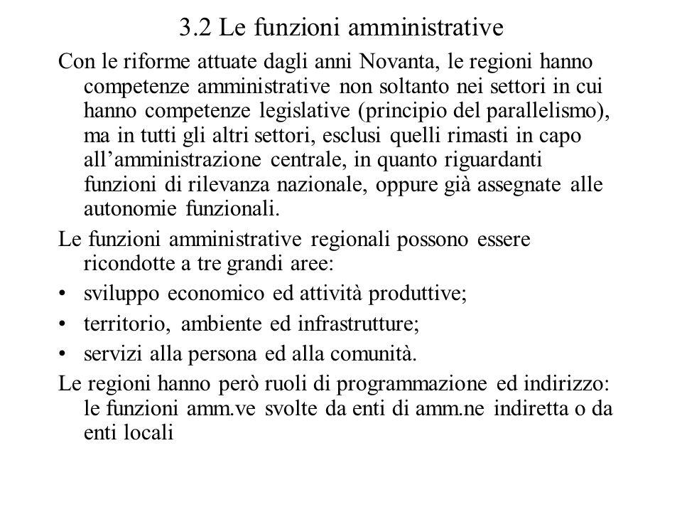 3.2 Le funzioni amministrative Con le riforme attuate dagli anni Novanta, le regioni hanno competenze amministrative non soltanto nei settori in cui h