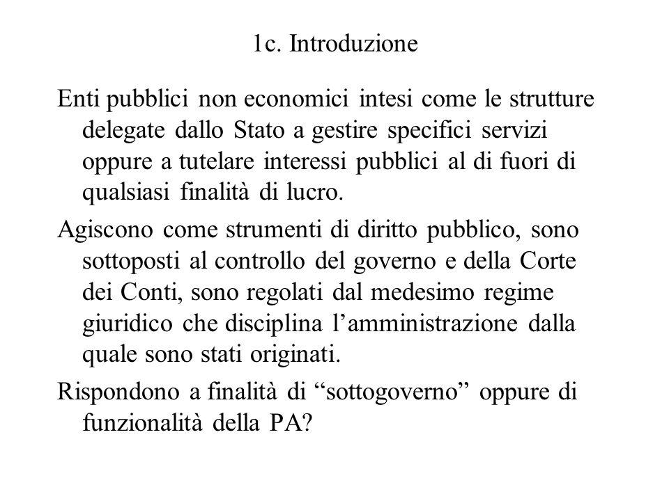 1c. Introduzione Enti pubblici non economici intesi come le strutture delegate dallo Stato a gestire specifici servizi oppure a tutelare interessi pub
