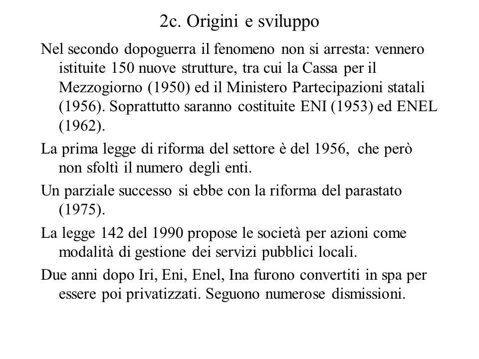 2c. Origini e sviluppo Nel secondo dopoguerra il fenomeno non si arresta: vennero istituite 150 nuove strutture, tra cui la Cassa per il Mezzogiorno (