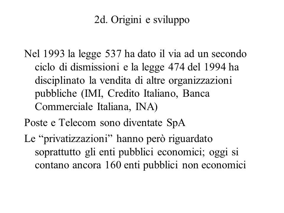 2d. Origini e sviluppo Nel 1993 la legge 537 ha dato il via ad un secondo ciclo di dismissioni e la legge 474 del 1994 ha disciplinato la vendita di a