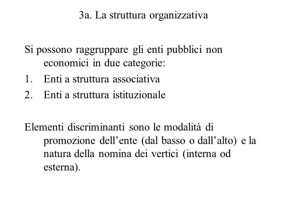 3a. La struttura organizzativa Si possono raggruppare gli enti pubblici non economici in due categorie: 1.Enti a struttura associativa 2.Enti a strutt