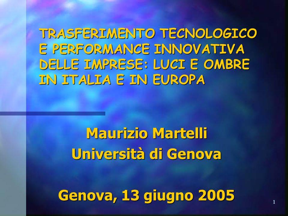 1 TRASFERIMENTO TECNOLOGICO E PERFORMANCE INNOVATIVA DELLE IMPRESE: LUCI E OMBRE IN ITALIA E IN EUROPA Maurizio Martelli Università di Genova Genova, 13 giugno 2005