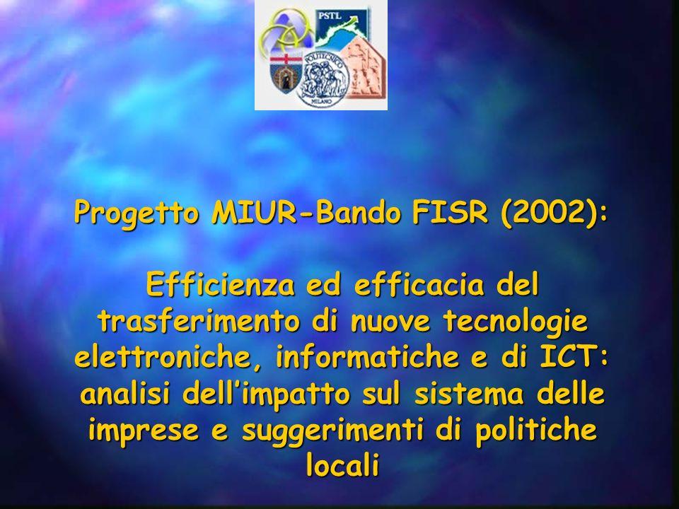 Progetto MIUR-Bando FISR (2002): Efficienza ed efficacia del trasferimento di nuove tecnologie elettroniche, informatiche e di ICT: analisi dellimpatto sul sistema delle imprese e suggerimenti di politiche locali