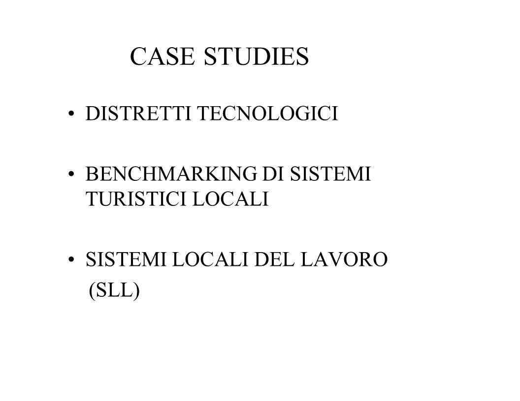 CASE STUDIES DISTRETTI TECNOLOGICI BENCHMARKING DI SISTEMI TURISTICI LOCALI SISTEMI LOCALI DEL LAVORO (SLL)