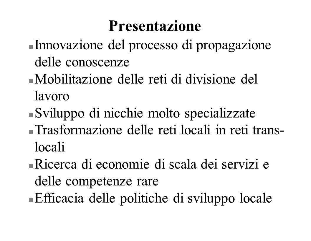 Presentazione n Innovazione del processo di propagazione delle conoscenze n Mobilitazione delle reti di divisione del lavoro n Sviluppo di nicchie mol