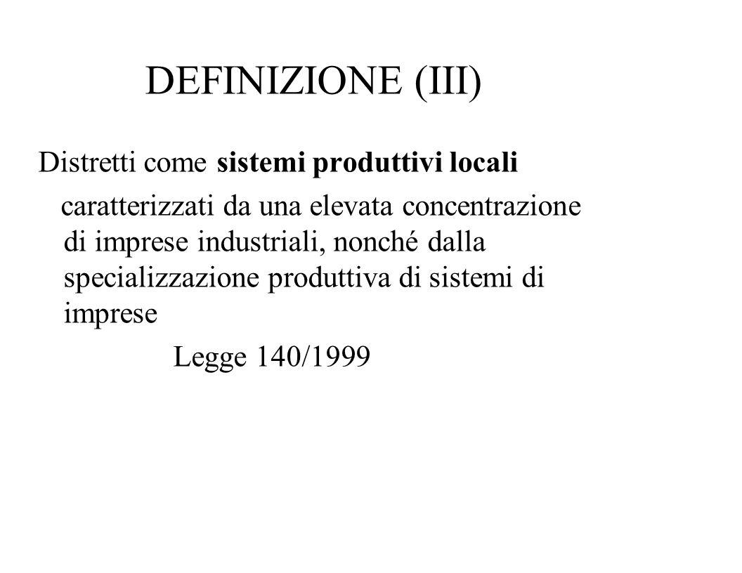 DEFINIZIONE (III) Distretti come sistemi produttivi locali caratterizzati da una elevata concentrazione di imprese industriali, nonché dalla specializ