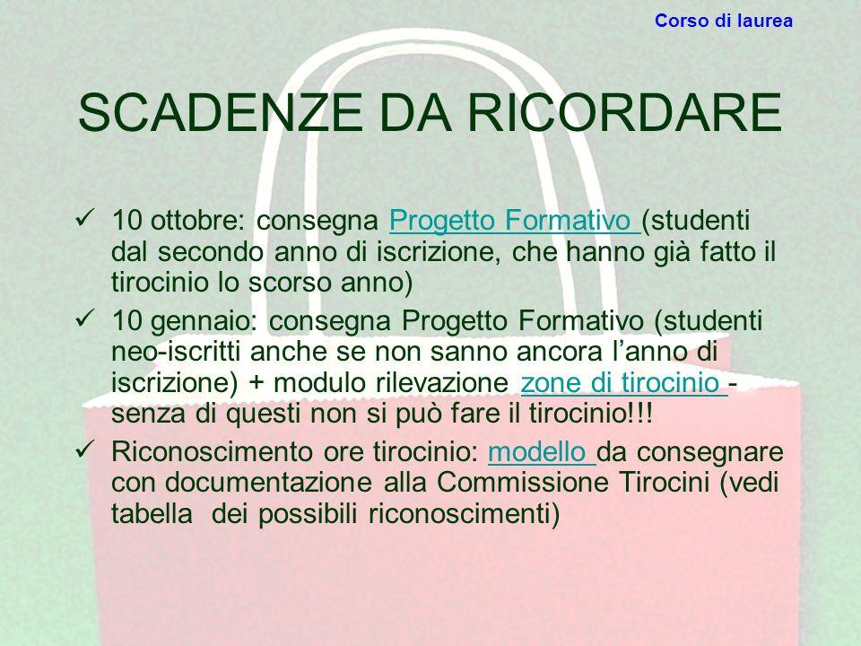 SCADENZE DA RICORDARE 10 ottobre: consegna Progetto Formativo (studenti dal secondo anno di iscrizione, che hanno già fatto il tirocinio lo scorso ann