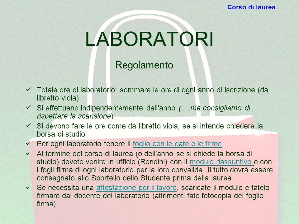 LABORATORI Totale ore di laboratorio: sommare le ore di ogni anno di iscrizione (da libretto viola) Si effettuano indipendentemente dallanno (… ma con