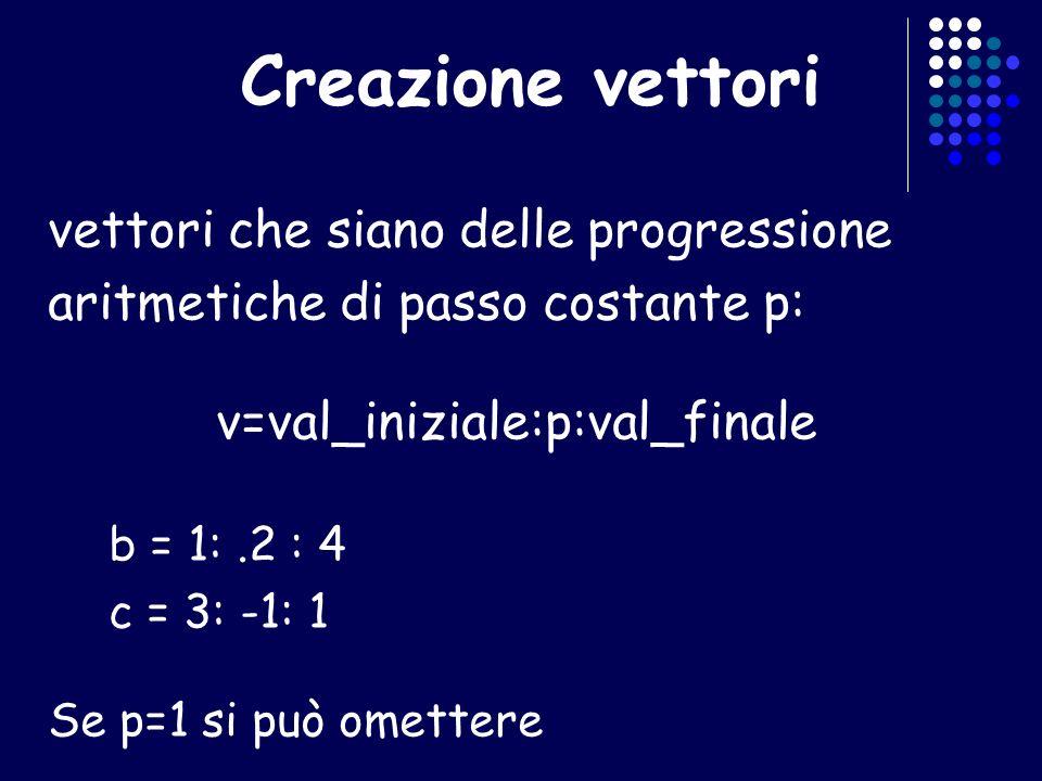 Creazione vettori vettori che siano delle progressione aritmetiche di passo costante p: v=val_iniziale:p:val_finale b = 1:.2 : 4 c = 3: -1: 1 Se p=1 s