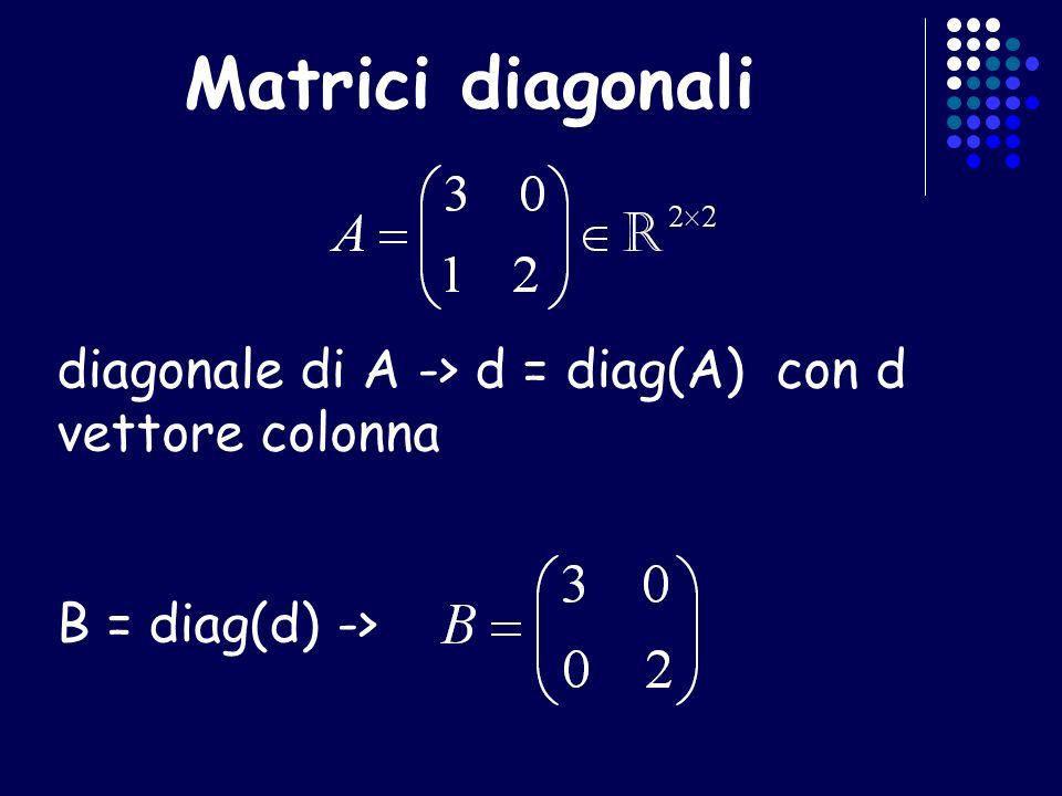Matrici diagonali diagonale di A -> d = diag(A) con d vettore colonna B = diag(d) ->