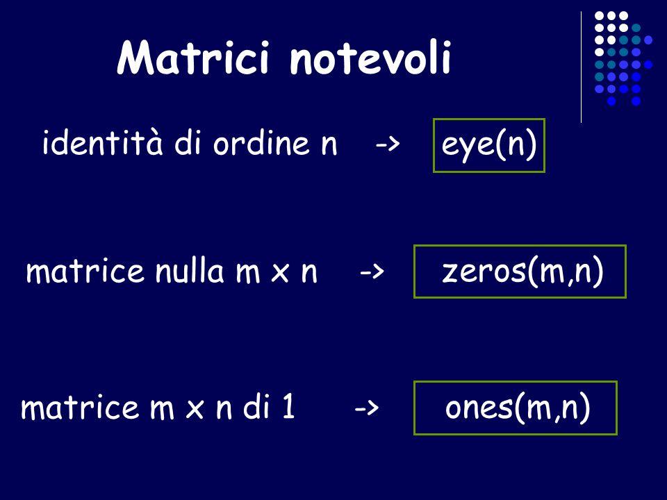 Matrici notevoli identità di ordine n->eye(n) matrice nulla m x n-> zeros(m,n) matrice m x n di 1-> ones(m,n)