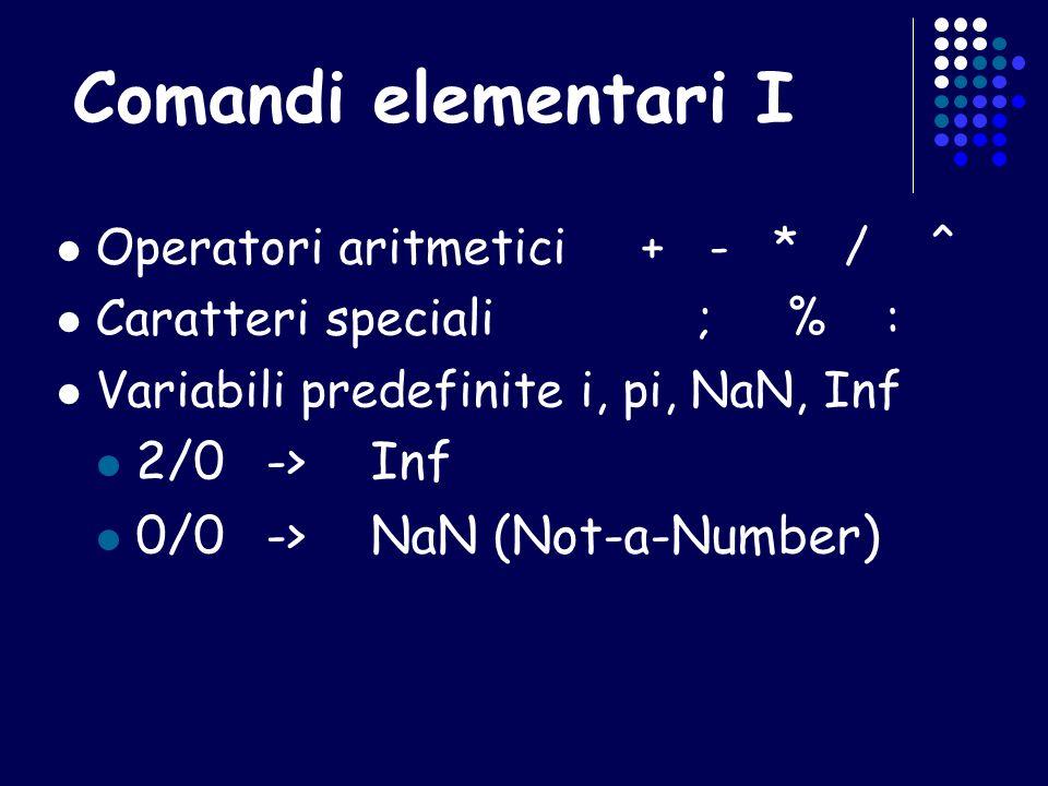 Comandi elementari I Operatori aritmetici + - * / ^ Caratteri speciali ; % : Variabili predefinitei, pi, NaN, Inf 2/0->Inf 0/0->NaN (Not-a-Number)