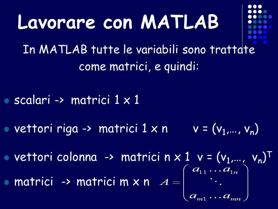 Lavorare con MATLAB In MATLAB tutte le variabili sono trattate come matrici, e quindi: scalari -> matrici 1 x 1 vettori riga -> matrici 1 x n v = (v 1