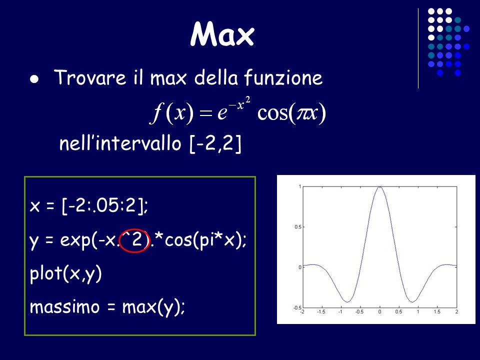 Max Trovare il max della funzione nellintervallo [-2,2] x = [-2:.05:2]; y = exp(-x.^2).*cos(pi*x); plot(x,y) massimo = max(y);