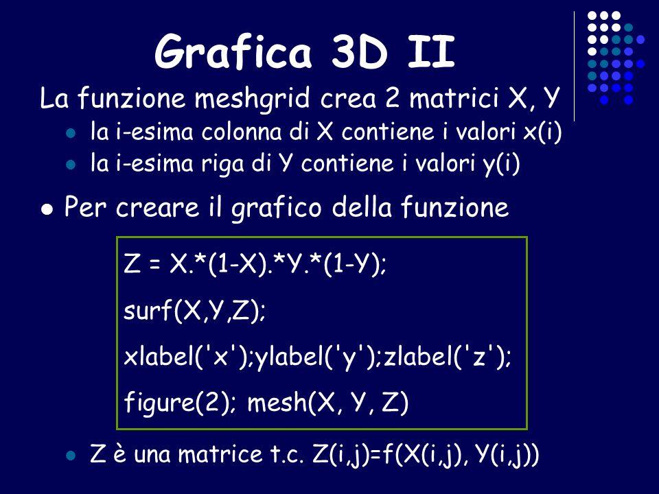 Grafica 3D II La funzione meshgrid crea 2 matrici X, Y la i-esima colonna di X contiene i valori x(i) la i-esima riga di Y contiene i valori y(i) Per