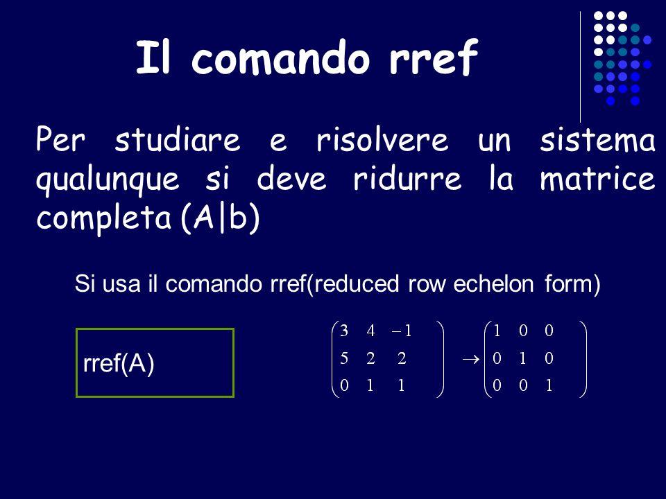 A quadrata singolare A = [3 4 -1; 5 2 3; 0 1 -1]; b = [14 14 2]; rank(A) rank([A b]) rref([A b]) per vedere se il sistema è risolubile confrontiamo il rango di A con quello della matrice completa (A|b) questo sistema è risolubile in quanto rango(A)=rango(A|b)=2 => soluzioni