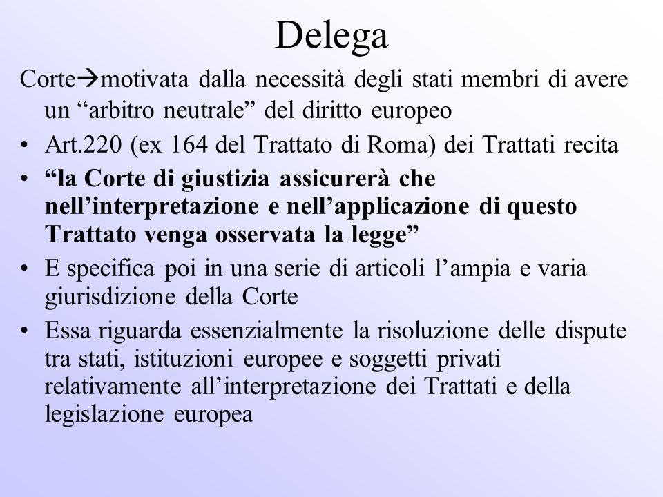 Delega Corte motivata dalla necessità degli stati membri di avere un arbitro neutrale del diritto europeo Art.220 (ex 164 del Trattato di Roma) dei Tr