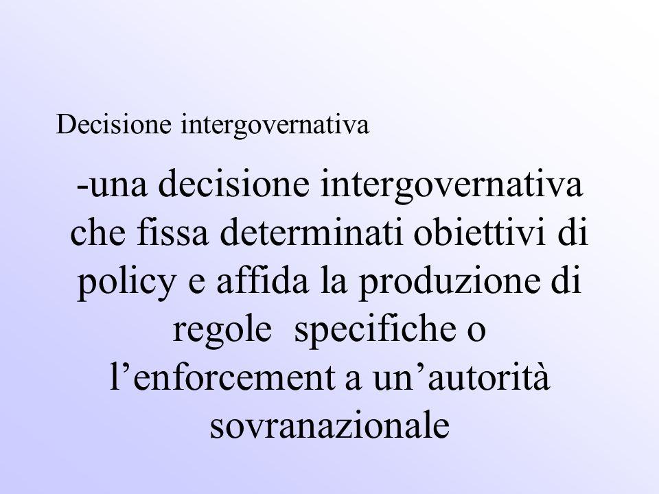-una decisione intergovernativa che fissa determinati obiettivi di policy e affida la produzione di regole specifiche o lenforcement a unautorità sovr