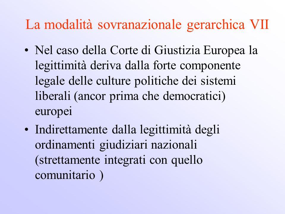 La modalità sovranazionale gerarchica VII Nel caso della Corte di Giustizia Europea la legittimità deriva dalla forte componente legale delle culture